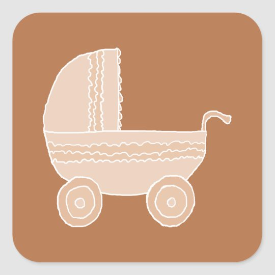 Old Fashioned Beige Baby Stroller on Brown. Square Sticker
