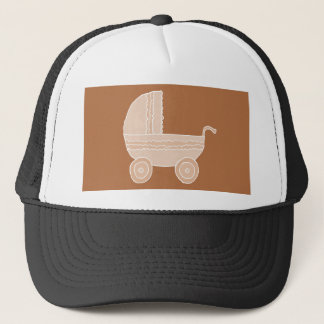 Old Fashioned Beige Stroller on Brown. Trucker Hat