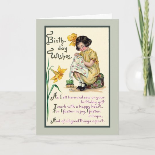 Old Fashioned Birthday Wishes Vinrage Card Zazzle