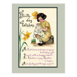 Old-Fashioned Birthday Wishes vinrage card