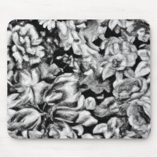 Old Fashioned Black and White Floral Mouse Mats