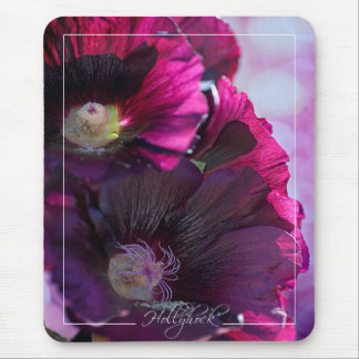 Old Fashioned Black Hollyhock Mousepad