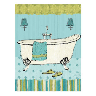 Old Fashioned Blue Bathroom Postcard