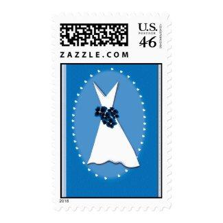 Old fashioned blue bridal postage stamp stamp