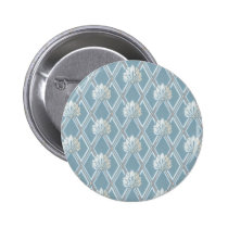 Old Fashioned Blue Fan Lattice Wallpaper Pattern Pinback Button