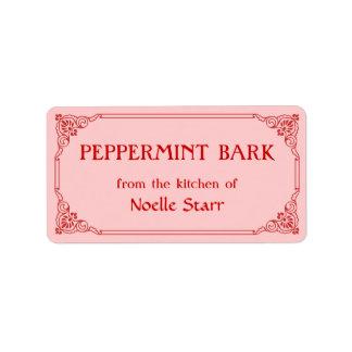 Old Fashioned Border Peppermint Bark Gift Label Address Label
