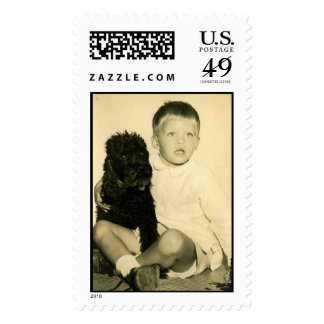 Old Fashioned Boy and his dog Postage Stamp