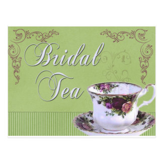 Old fashioned Bridal Tea Invitation Postcard