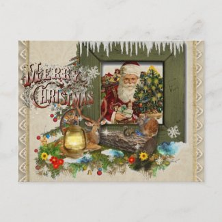Old Fashioned Cabin Window Christmas Postcard