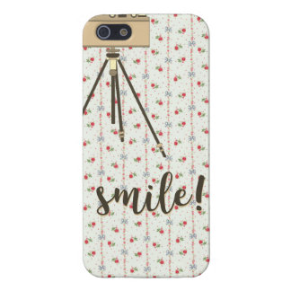 Old-Fashioned Camera Floral Background iPhone Case