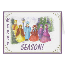 OLD FASHIONED CAROLERS MERRY SEASONS GREETING CARD