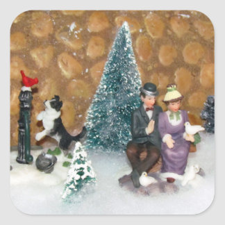 Old Fashioned Christmas (1213) - Christmas Village Square Sticker