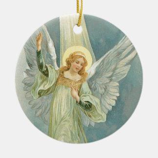 Old Fashioned Christmas Angel Gloria Ceramic Ornament