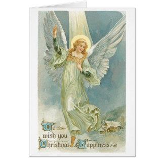 Old Fashioned Christmas Angel Gloria Greeting Card