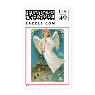 Old Fashioned Christmas Angel Postage Stamps