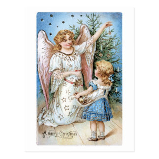 Old-fashioned Christmas, Angel with Girl Postcard