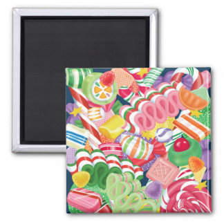 Old Fashioned Christmas Candy 2 Inch Square Magnet