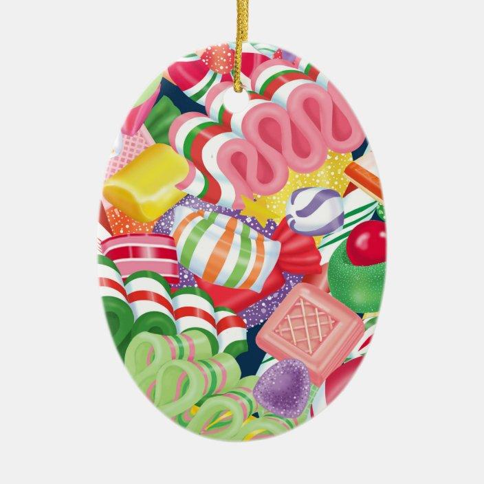 Old Fashioned Christmas Candy Ceramic Ornament Zazzle Com