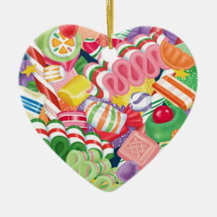 old fashioned christmas candy ceramic ornament - Old Fashioned Hard Christmas Candy