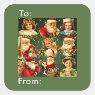 Old Fashioned Christmas Girls & Santa Gift Tag