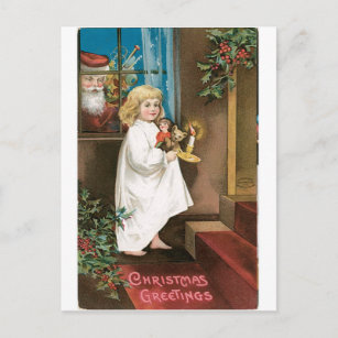 Old christmas greetings postcards zazzle old fashioned christmas greetings holiday postcard m4hsunfo