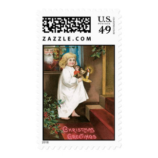 Old Fashioned Christmas Greetings Postage Stamp