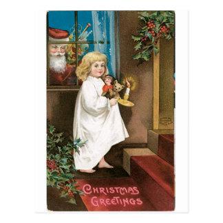 Old Fashioned Christmas Greetings Postcard