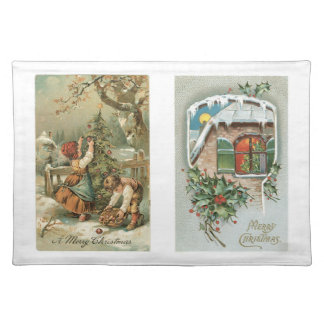Old Fashioned Christmas Holiday Joy Kids Cloth Placemat