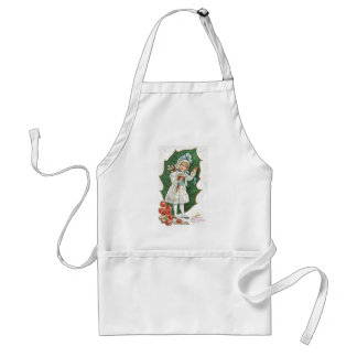 Old Fashioned Christmas Holly Berry Girl Apron