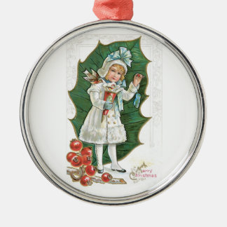 Old Fashioned Christmas Holly Berry Girl Christmas Ornaments