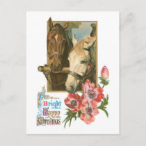Old-fashioned Christmas, Horses Holiday Postcard