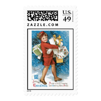 Old Fashioned Christmas Joyous Gift Boxes Postage Stamp