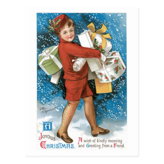 Old Fashioned Christmas Joyous Gift Boxes Postcard