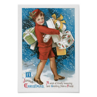 Old Fashioned Christmas Joyous Gift Boxes Posters