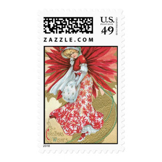 Old Fashioned Christmas Poinsettia Lady Postage