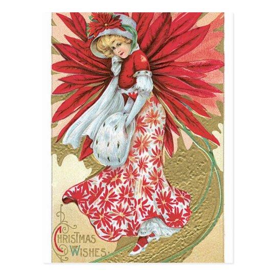 Old Fashioned Christmas Poinsettia Lady Postcard