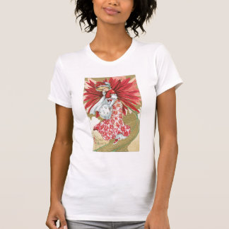 Old Fashioned Christmas Poinsettia Lady T-shirts