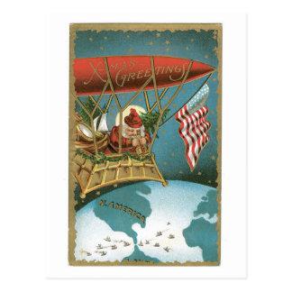 Old-fashioned Christmas, Santa get on an Airship Postcard