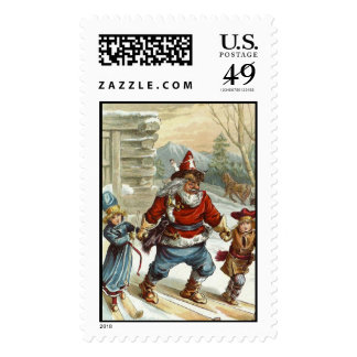 Old fashioned Christmas - Santa on skis Stamps