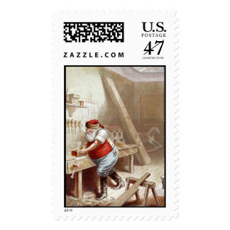 Old fashioned Christmas - Santa woodworker Postage