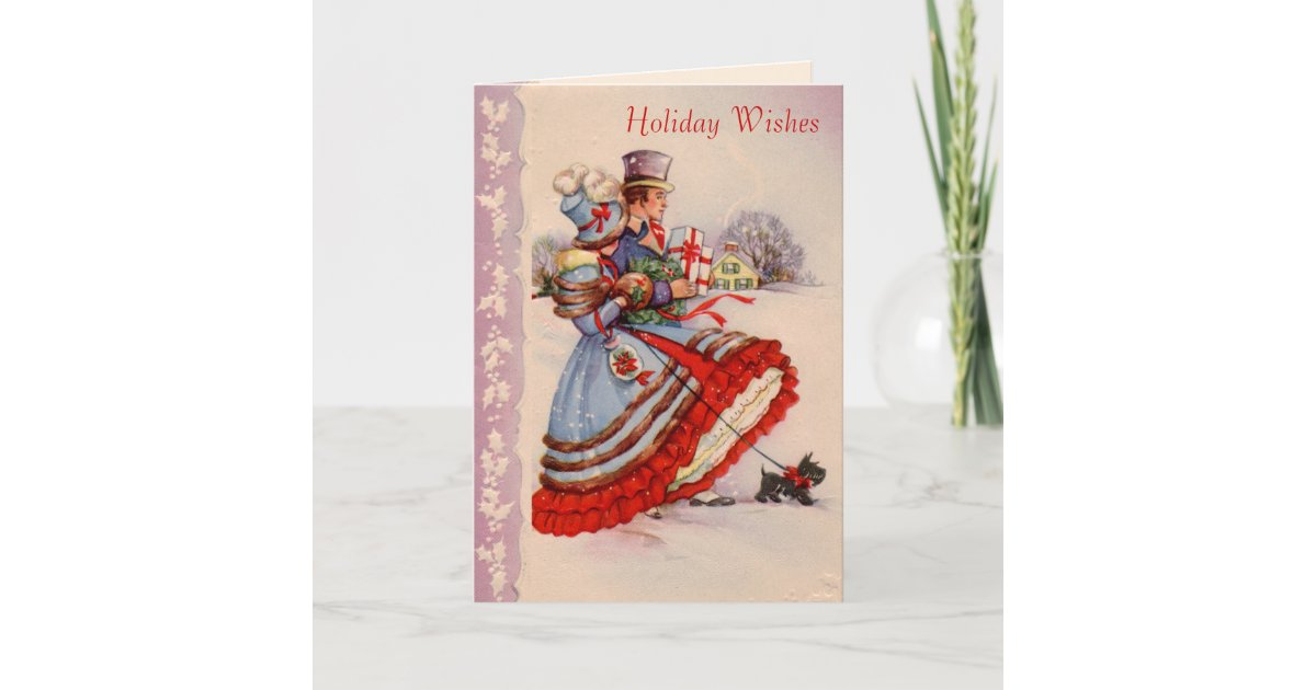 Old Fashioned Christmas Shopping Greeting Card Zazzle Com
