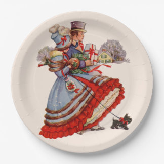 Old Fashioned Christmas Shopping Paper Plates