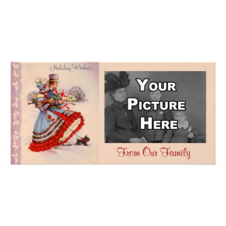 Old Fashioned Christmas Shopping Photo Card