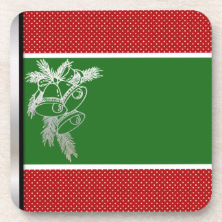 Old Fashioned Christmas Silver Bells Red and Green Beverage Coaster
