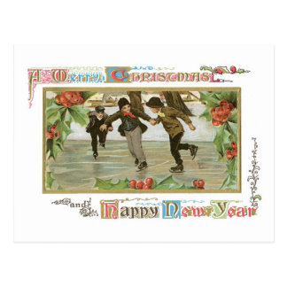 Old-fashioned Christmas, Skating rink Postcard