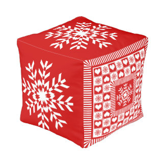 Old Fashioned Christmas Snowflakes Red and White Pouf
