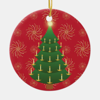 Old-Fashioned Christmas Tree on Red Ceramic Ornament