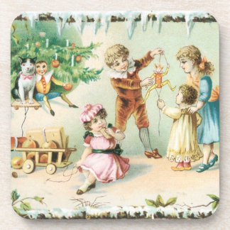 Old Fashioned Christmas Vintage Holiday Celebrate Coaster