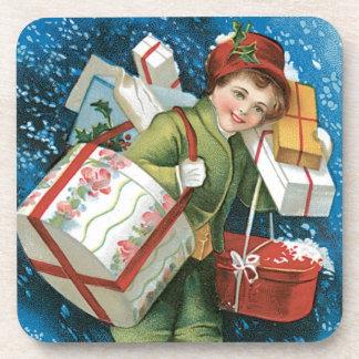 Old Fashioned Christmas Vintage Holiday Joy Beverage Coaster