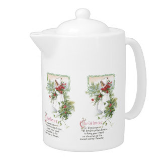 Old Fashioned Christmas Vintage Holiday Joy Teapot